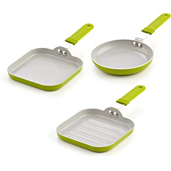 Cook N Home 5.5-Inch Nonstick Ceramic Mini Fry, Griddle, Grill 3-Piece Pan Set, Green