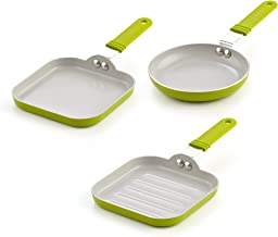 Cook N Home 5.5-Inch Nonstick Ceramic Mini Fry, Griddle, & Grill 3-Piece Pan Set, Green