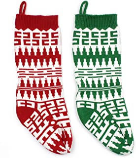 Knit Crochet Christmas Stockings, Rustic Holiday Decorations for Family Home, Vintage Stocking with Ribbon for Boys Girls Presents Storage, Large Chunky Xmas Hanging Stocking for Fireplace, Set of 2