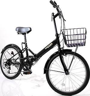 20インチ 折りたたみ自転車 ミニベロ AJ-08-T シマノ6段ギア カゴ・ワイヤー錠・ライト付属