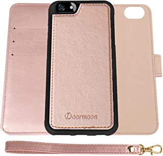 Wallet Case for iPhone SE, iPhone 5, iPhone 5S, Doormoon Detachable Flip Folio PU Leather Stand 2 in 1 Cover Card Slots Cash Pocket Wrist Strap (Rose Gold)