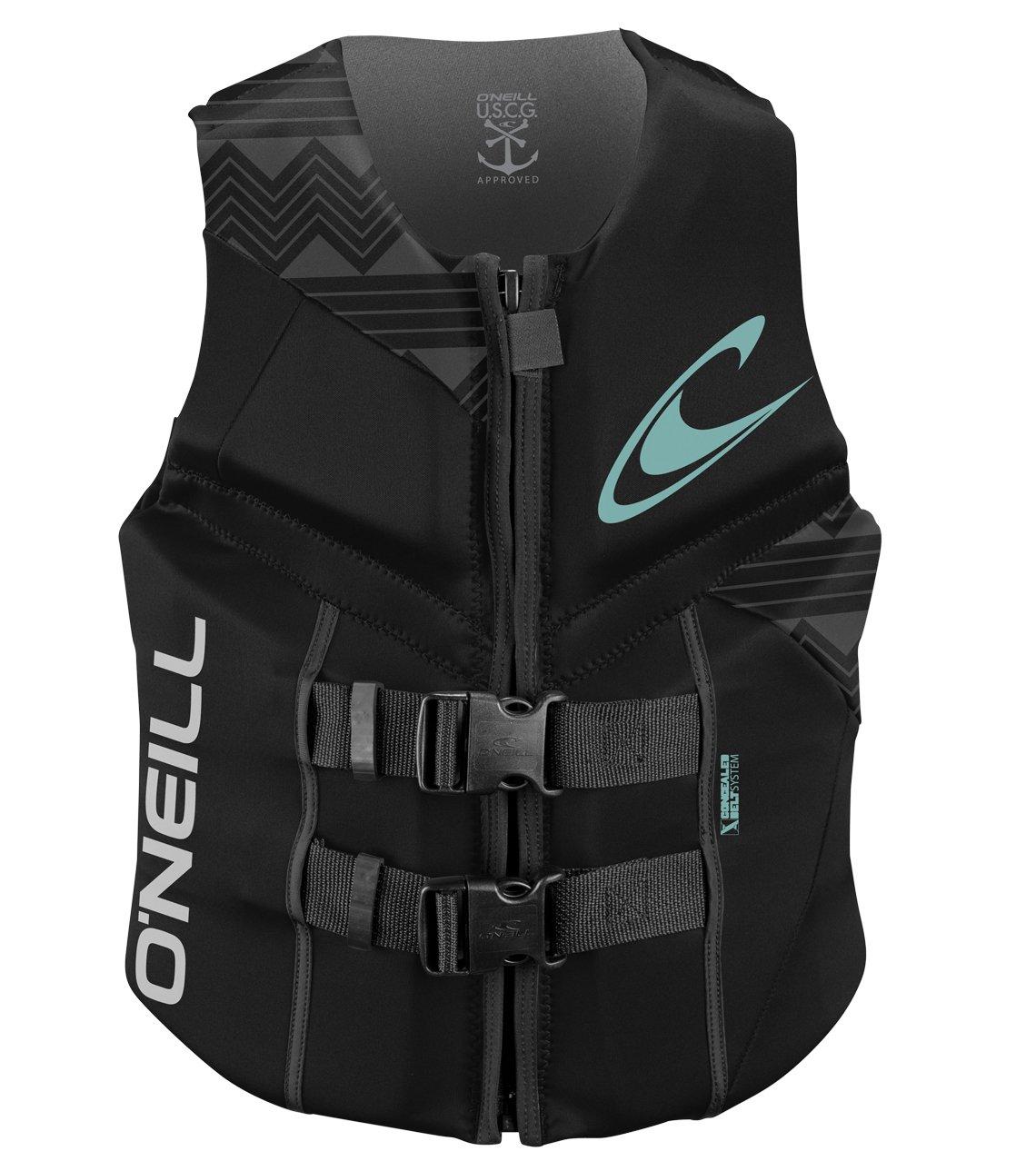 ONeill Wetsuits Womens Reactor USCG Life Vest Black//Black//Black 10