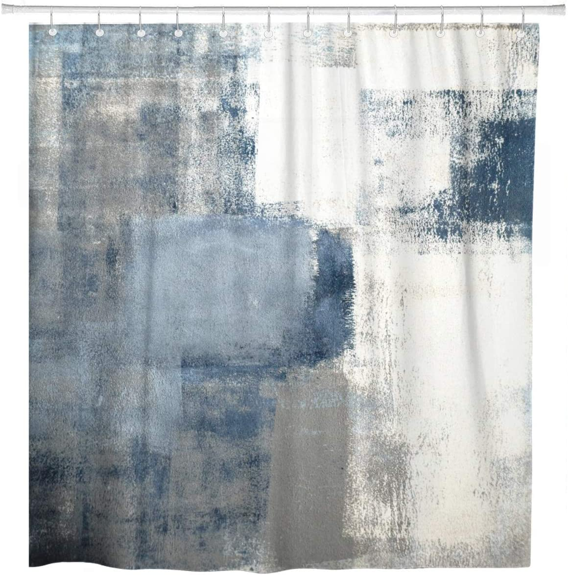 Amazon.com: ArtSocket Shower Curtain Gray Contemporary Blue And Grey Abstract Painting Home Bathroom Decor Polyester Fabric Waterproof 72 X 78 Inches Set With Hooks: Home & Kitchen