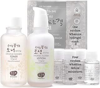 Whamisa Organic Flowers Original Toner, Original Lotion Korean Skin Care Set | Korean Skincare Kit with Organic Facial Mask and 4 Random Best Korean Skincare Miniatures