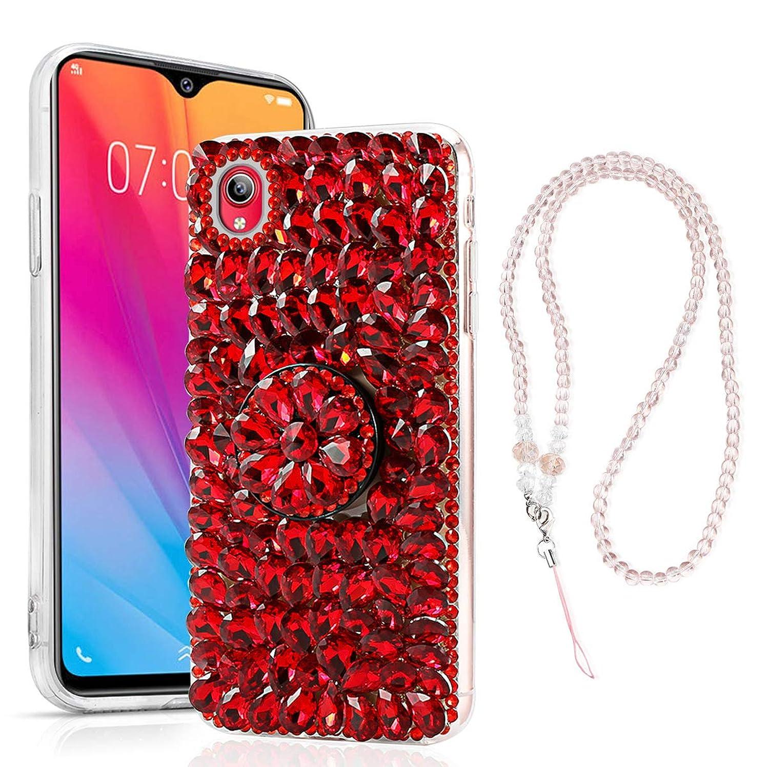Torubia Diamond Phone Cover for Vivo Y91i,3D Handmade Bright Shining Rhinestone Shockproof Hard Back Case for Vivo Y91i-Red