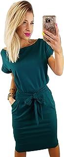 Longwu Women's Elegant Lantern Sleeve Short Sleeve Wear to Work Casual Pencil Dress with Belt
