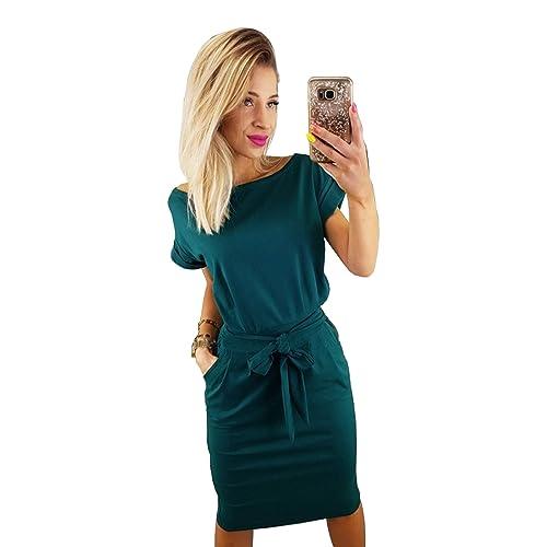 0ccf60b482 Longwu Women s Elegant Short Sleeve Wear to Work Casual Pencil Dress with  Belt