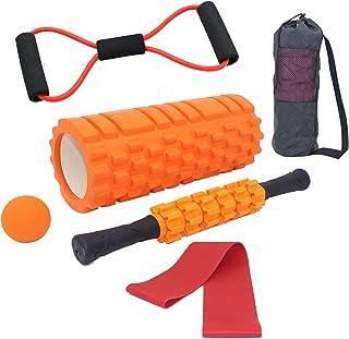 Tallgoo Fasciarol Foam Roller Set 6-in-1, spierroller, touw trekken, fasciarol, fasciarabal, weerstandsbanden en opbergta...
