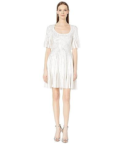 Zac Posen Embroidered Radiant Stripe Dress (White Chevron) Women