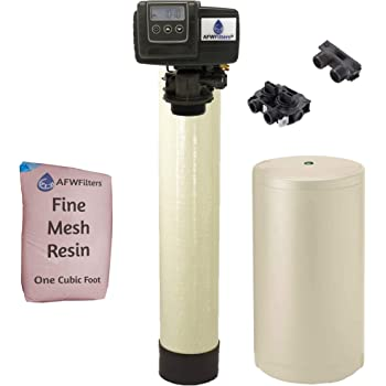 AFWFilters IRONPRO2 Pro 2 Combination Water Softener Iron Filter Fleck 5600SXT Digital metered Valve for Whole House (32,000 Grains, Almond), 32, 000