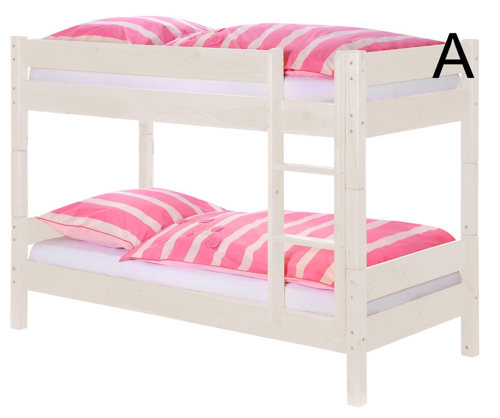 SAM® Litera para niños Jungla I blanco de madera maciza de base cama umbaubar a dos cama individual con ampliación como Variation (2 x Seguridad somier enrollable/Cortina) hochbett con vertical Escalera escalera
