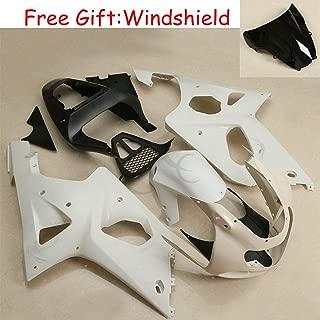 XFMT Motorcycle White Unpainted ABS Plastic Fairing Cowl Bodywork Set Compatible with SUZUKI GSX-R 1000 GSXR1000 2000 2001 2002 K1 K2