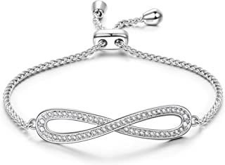 Alex Perry Mother's Day Jewelry Gifts for Mom, ✦Endless Love✦ Women Link Bracelet, with Crystals from Swarovski, White Gold Plated Adjustable Bracelet Jewelry Gifts for Women
