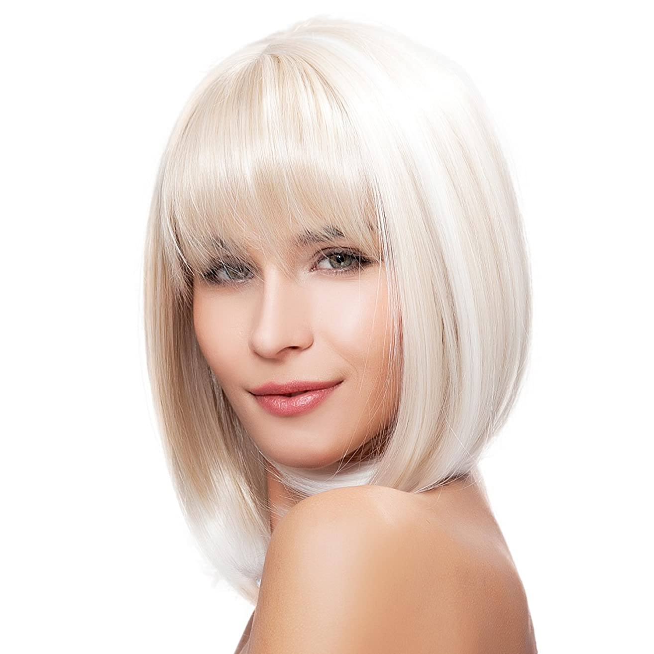 Kalyss Short Shoulder Length Bob Blonde Wigs with Hair Bangs Heat Resistant Yaki Synthetic Wig for Women