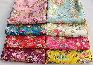 FidgetKute 72CM Wide Chinese Silk Damask Jacquard Brocade Fabric : Fantasy Phoenix Flower Yellow by 400cm (Wholesale)