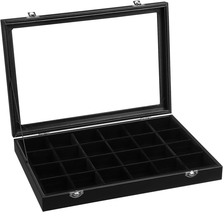 SONGMICS Joyero con 24 compartimentos, organizador de joyas con forro de terciopelo, tapa de cristal y cierre, idea de regalo, negro JDS303, cristal, 35 x 24 x 4,3 cm