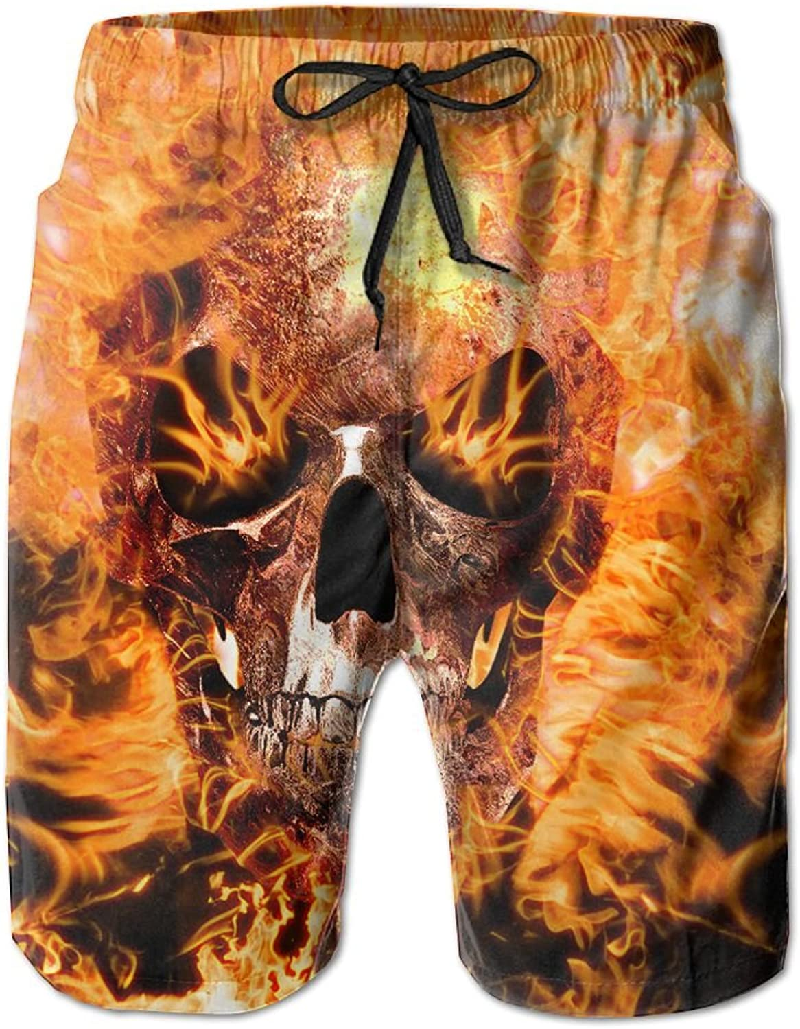 c1cabf6f2b Tydo Quick Dry Beach Shorts Flame Skull Swim Swim Swim Trunks Surf Board  Pants With Pockets For Men b12196