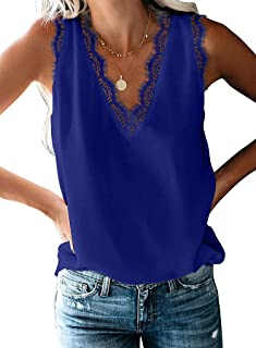 Women's V Neck Lace Tank Tops Casual Loose Summer Sleeveless Cami Shirts Blouse
