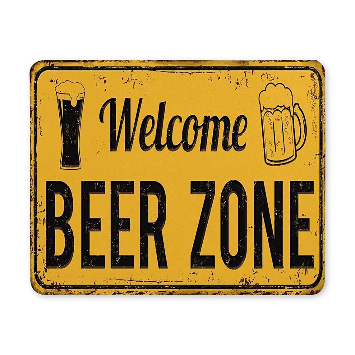 InterestPrint Funny Vintage Rusty Metal Sign Welcome Beer Zone Rectangle Non Slip Rubber Comfortable Computer Mouse Pad Gaming Mousepad Mat with Designs for Office Home Woman Man Employee Boss Work