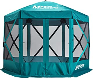 MasterCanopy Escape Shelter, 6-Sided Canopy Portable Pop up Gazebo Durable Screen Tent Bug and Rain Protection (6-8 Person),Turquoise