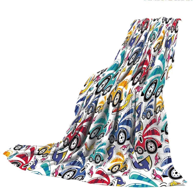 SCOCICI SuperThick Flannel Warm Sofa or Bed Blanket,Modern Decor,Vintage Cartoon Like Rainbow Vivid colorful Cars for Kids Nursery Room Print,Multicolor,39.37  W x 59.06  H
