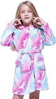 Hyvtom Accappatoio per Bambini Unicorn Robe Unisex Flanella Camicia da Notte con Cappuccio da Notte