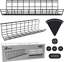Black Under Desk Cable Management Tray for Home and Office Cable Management Tray 34in Under Desk Cable Tray Metal Cable Tray to Hide Cables and Power Strips 2X L17in x W4.1in x H4.7in