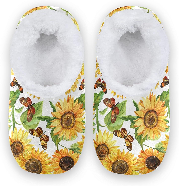 Sale item Sunflowers andButterflies Women Men Slipper Watercolor Dallas Mall Comfy Flo