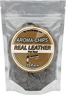 Aroma Chips Real Leather Scent (25 Pack) Car Air Freshener Chips with 2 Vent Clips Odor Removing, Long Lasting
