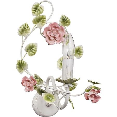 MW-Light 421023901 Applique Intérieure Florale en Métal Blanc Doré avec Lampe Bougie décorée de Fleurs et Feuilles en Porcelaine Colorée pour Chambre à Coucher 1x40W E14