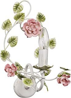 MW-Light 421023901 Applique Intérieure Florale en Métal Blanc Doré avec Lampe Bougie décorée de Fleurs et Feuilles en Porc...