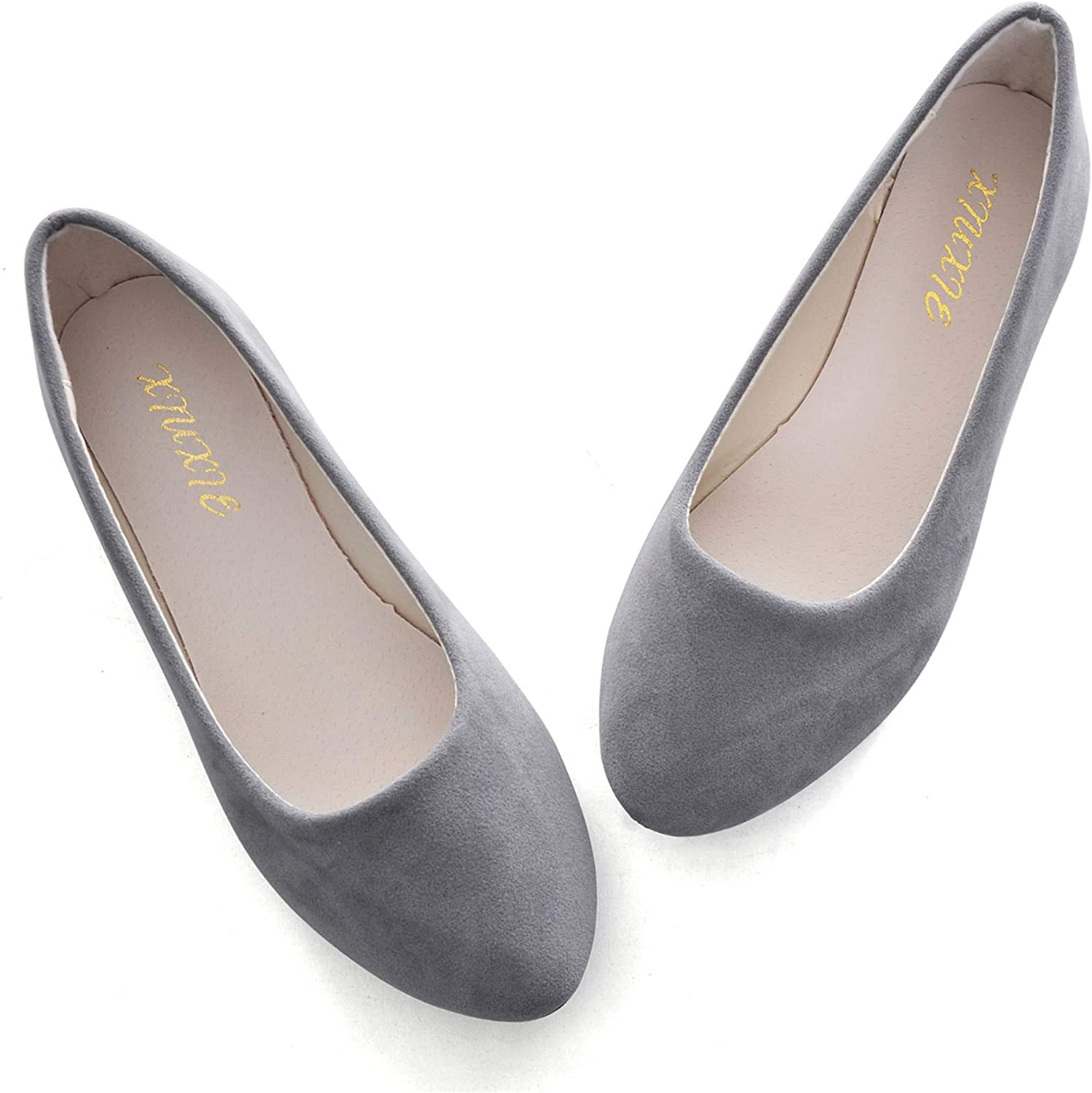 Henoo Women's Pointed Toe San Antonio Mall Slip On Flats Bombing new work Candy Suede Colors Soft