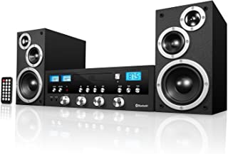 Innovative Technology Classic Retro Bluetooth Stereo System with CD Player, FM Radio, Aux-In, and Headphone Jack, Blackweb