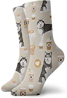 Alaskan Malamute Junk Food Donuts Pizza Fries Dog Portrait Sand Crew Socks for Men - Men's Sport Socks - Athletic Socks