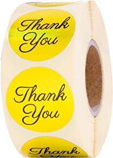 Thank you stickers Roll - Bulk 1000 Gold label Stickers - Large Round 1.5 inch size stickers-Bridal and Baby showers wedding favors-Personal and Business use - Thanks