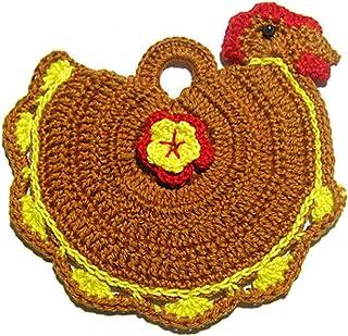 Agarradera marrón en forma de gallina de ganchillo - Tamaño: 14.5 cm x 16 cm H - Handmade - ITALY
