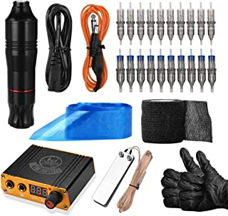 Cartridge Tattoo Machine Kit, ATOMUS Pen Rotary Tattoo Machine with Power Supply Foot Pedal 100pcs Clip Cord Covers 20pcs Mixed Cartridge Needles Bandage Gloves for Tattoo Beginners Artist (Black)