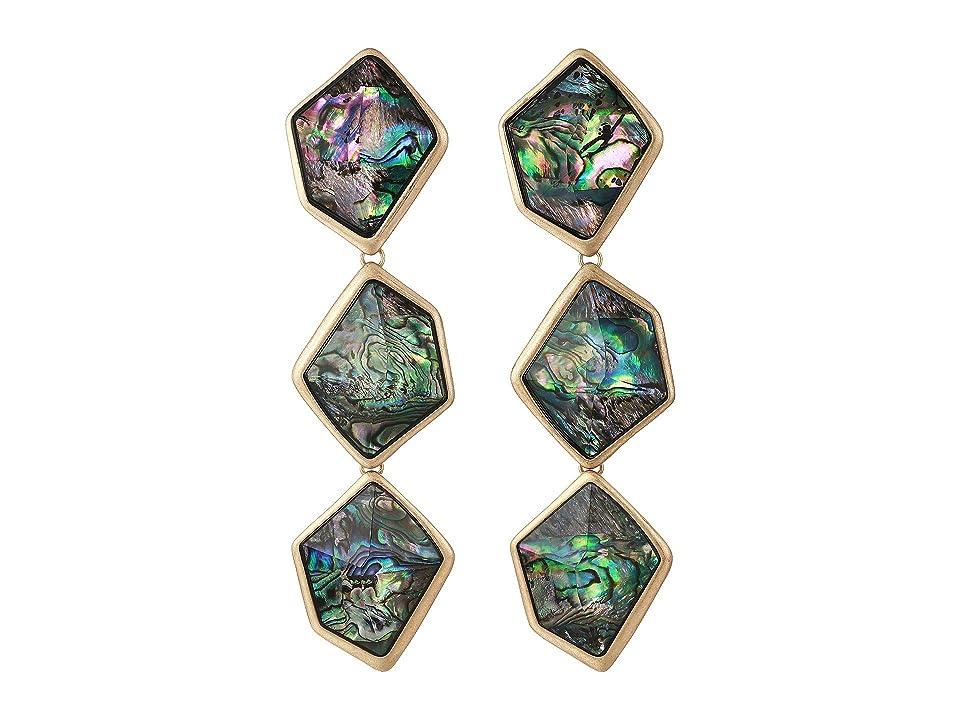 Robert Lee Morris - Robert Lee Morris Geometric Abalone Stone Triple Drop Earrings