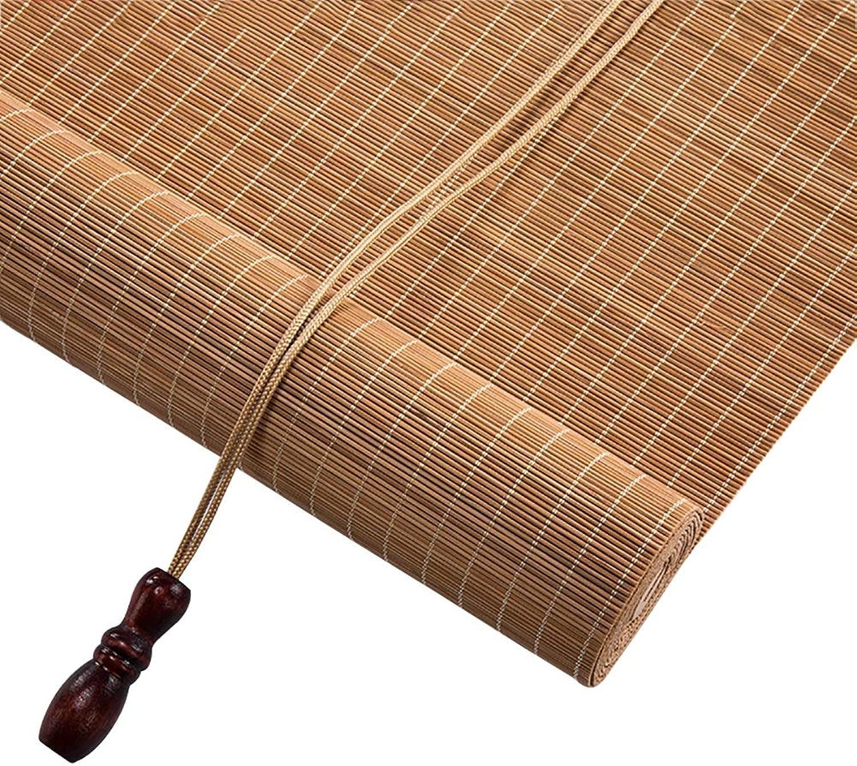 Bambusrollo Rollo Bambus, Licht filternde Jalousien mit Volant, lichtdurchlssig, Nicht transparent, für Wohnzimmer Teehaus abschneiden (Farbe   Flat Curtain, gre   100x220cm)