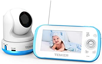 TENKER Video Baby Monitor with Camera and Audio, Baby Monitor with Night Vision, 4.3-Inch LCD Screen, 270°Pan-Tilt-Zoom, VOX, Lullaby, Two Way Talk (Monitor)