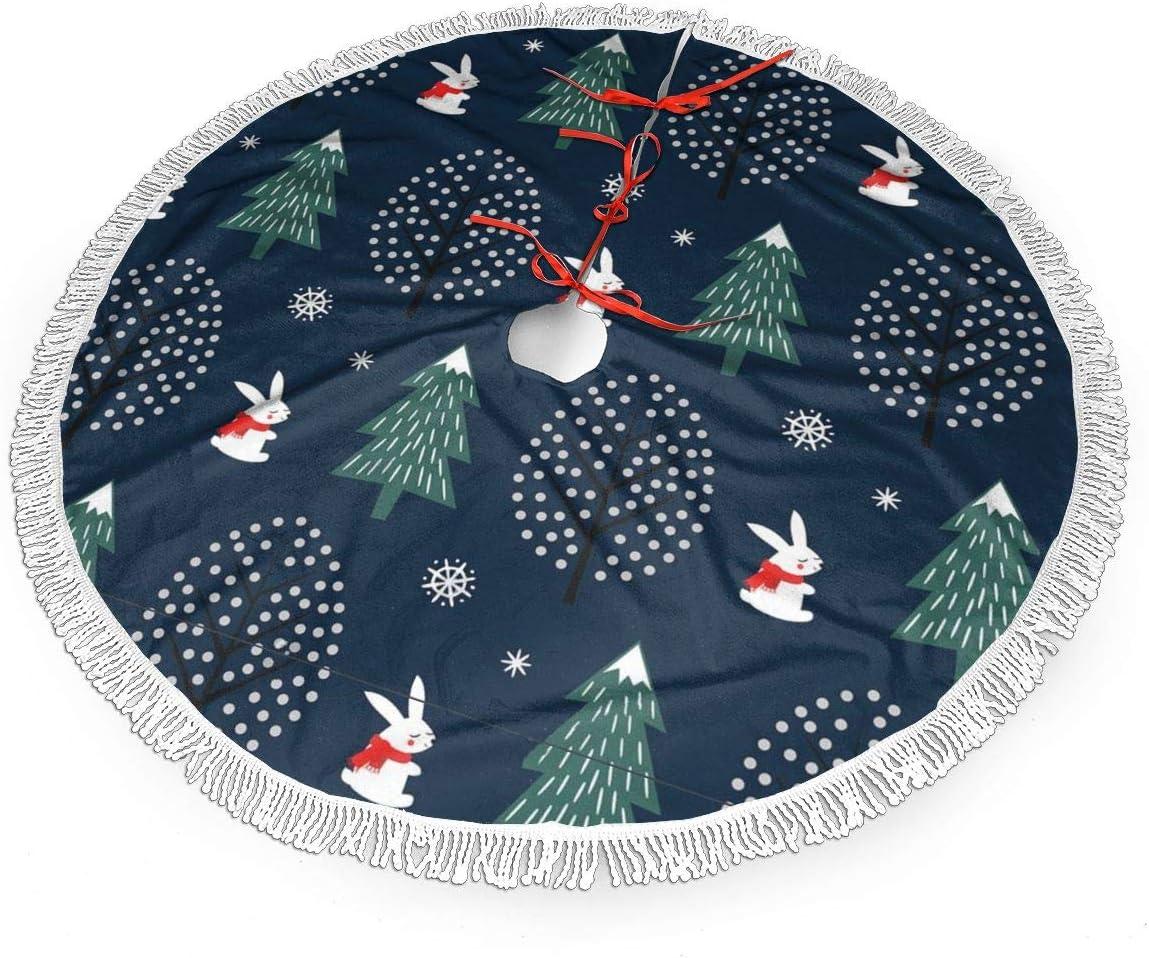 MSGUIDE 48 Inch Tassel Cash special price Christmas Skirt Xmas Snowflake trust Tree
