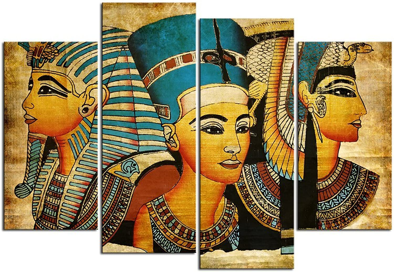 Sea Charm Egyptian Decor Ancient 4 Pieces Canvas Wall Art Framed Egyptian Pictures for Living Room Decor,Vintage Canvas Painting Giclee Print Artwork