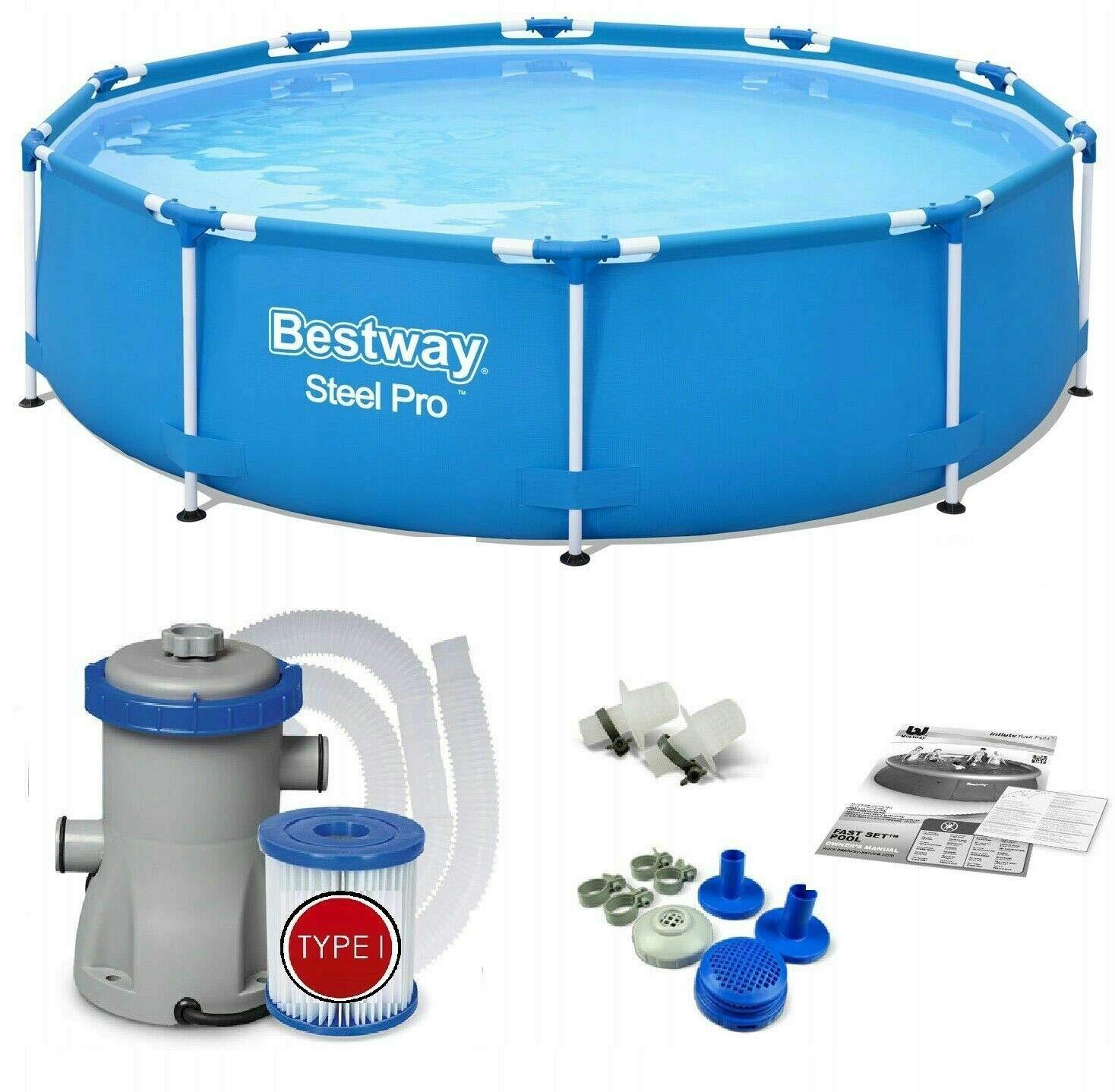 Bestway 56681 | Steel Pro – Piscina exterior redonda 366 x 76 cm, bomba de filtrado incluida: Amazon.es: Jardín