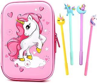 Unicorno Astucci Set,Astuccio Portapenne Hardtop Unicorno Portamatite,Astuccio Con Grazioso Unicorno in Rilievo Per Bambin...