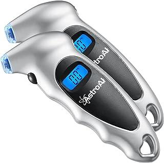 AstroAI Juego de 2 Medidor de Presión Llantas 150 PSI Neumáticos Moto Bicicleta Coche, Manómetro Digital de Presión Aire P...