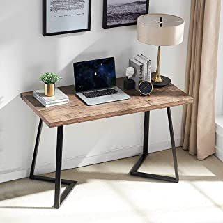 UnaFurni Rustic Computer Desk, Vintage Industrial Simple Writing Desk, Metal and Wood Study Table for Home Office Multipurpose Workstation, 55 inch
