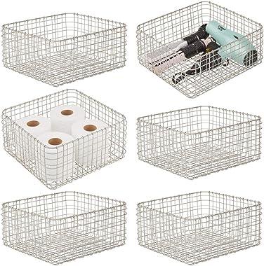 mDesign Farmhouse Metal Bathroom Storage Organizer Bin Basket for Vanity, Towels, Cabinets, Shelves - Holds Sponges, Make-Up,