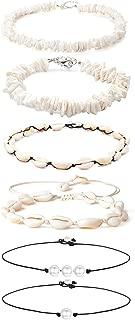 6 Pcs Shell Pearl Choker Necklace for Women Girls Hawaiian Natural Seashell Puka Chips Necklace for Summer Beach