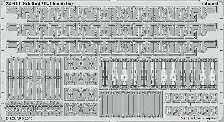EDU72614 1 72 Eduard PE  Stirling Mk.I Bomb Bay Detail Set (for use with the Italeri model kit) MODEL KIT ACCESSORY