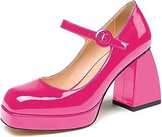 elashe-Scarpe da Donna - 8CM Scarpe col Tacco Blocco Alto- Cinturino alla Caviglia- Scarpe con Plateau